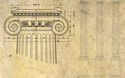 Columna iónica Imágenes de archivo libres de regalías