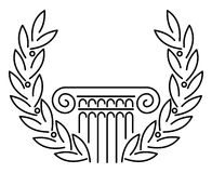 Columna y laurel griegos antiguos Imagen de archivo libre de regalías