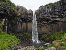 Columnar basalt rocks and waterfall, Iceland Royalty Free Stock Photo