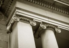 Columnas BN. Detail of columns (black and white picture royalty free stock photos