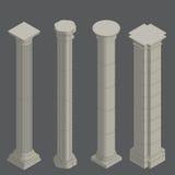 Columnas clásicas, isométricas Imágenes de archivo libres de regalías