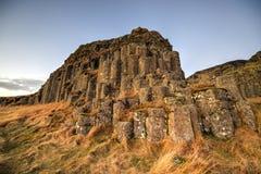 Columnas del basalto de Dverghamrar, Islandia Imagen de archivo