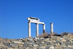 Columnas en Delos. Imagenes de archivo