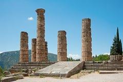 Columnas en Delphi, Grecia de Apolo del templo Fotos de archivo