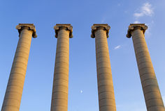 Columnas en Montjuic, Barcelona Imagen de archivo