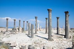 Columnas en Umm Qais, Jordania Imagen de archivo libre de regalías