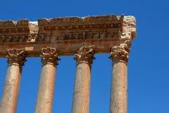 Columnas romanas en Baalbeck Fotos de archivo
