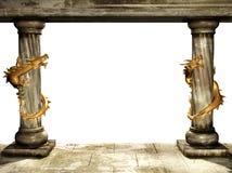 Columnas y dragones Fotos de archivo