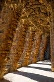 Columnata en el parque Guell en Barcelona Fotos de archivo