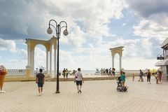 Columned access to the beach on Gorky embankment in the resort town