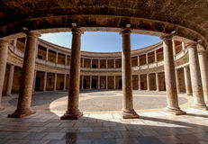 Alhambra de Granada. Court of the Carlos V palace. A columned courtyard at the Palace of Charles V (Palacio de Carlos V), site of the Museum of the Alhambra in Royalty Free Stock Image