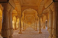 Columned hall of a Amber fort. Royalty Free Stock Photo