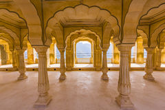 Columned hall of Amber Fort  in Jaipur, India Stock Images