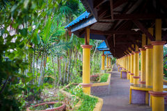 Columned roofed walkway or corridor in Malaysia Royalty Free Stock Images
