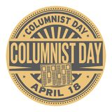 Columnist Day stamp. Columnist Day, April 18, rubber stamp, vector Illustration Stock Image