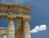Columns. Roman Temple of Segesta on the Island Sicily - Italy Stock Photos