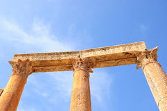 Columns. Greek and roman style architecture in Jerash, Jordan Royalty Free Stock Images