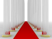 Columns. Illustration of columns with a red rug in the middle vector illustration