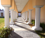 Columns. White Columns in sunshine and shadows along gray tile walkway of music building with terra cotta colored walls stock photo