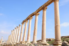 Columns. Against blue sky in ancient city in Jordan Royalty Free Stock Photos