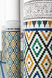 Columns. In a beautiful palace in Marrakech, focus in the first one Royalty Free Stock Images