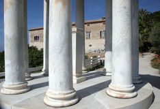 Columns 3. View through the columns of the monument to a mansion in Majorca stock images