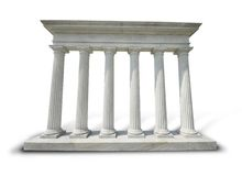 Columns. Six white doric columns on a marble base with clipping path