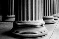 Columns. Close-up of classic columns in black and white