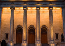 Columns. Artificially lit columns at a museum royalty free stock photos