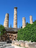Columns. Old ruins of temple in the archaeological site of Delphi in Greece royalty free stock photography