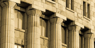 Columns. Old building front side .Rows of granite columns Stock Photography