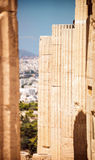 Columns in acropolis of Athens, Greece Stock Image