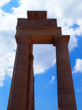Columns of the acropolis in lindos Stock Images