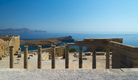 Columns at the Acropolis of Lindos, Rhodes Royalty Free Stock Photos