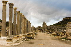 Columns of Agora in Archaic Perge. Royalty Free Stock Photos