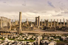 Columns of Agora in Archaic Perge. Royalty Free Stock Images