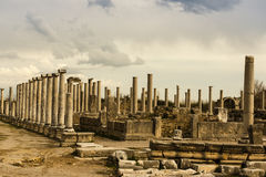 Columns of Agora in Archaic Perge. Royalty Free Stock Photography