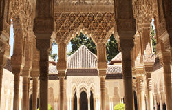 Columns in Alhambra. Spain. Summer day Royalty Free Stock Photography