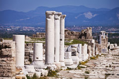 Columns Along Main Road into Laodicea Royalty Free Stock Images