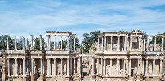Columns amphitheatre. Detail of columns of Emerita Augusta Roman Amphitheatre located in the Spanish city of Merida Royalty Free Stock Photos