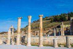 Columns in ancient antique city of Efes, Ephesus ruins. Ancient antique city of Efes Celsus library ruin in Turkey. Ancient Greek city Ephesus ruins on the stock image