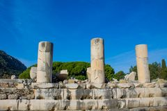 Columns in ancient antique city of Efes, Ephesus ruins. Ancient antique city of Efes Celsus library ruin in Turkey. Ancient Greek city Ephesus ruins on the royalty free stock photos
