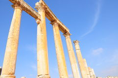 Columns in ancient city. Columns in an ancient city in Jordan Royalty Free Stock Photos