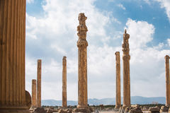 Columns of ancient city of Persepolis, Iran. Columns of ancient city of Persepolis Royalty Free Stock Images