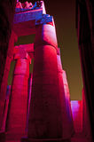 Columns in an ancient egyptian temple at night Royalty Free Stock Photography