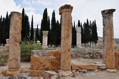 Columns - Ancient Greco-Roman and Byzantine city of  Hierapolis Royalty Free Stock Photography