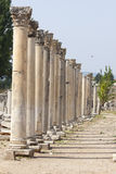 Columns in the ancient greek and later roman city of Ephesus Turkey Stock Images