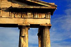 Columns. Ancient Greek monument in Athens Royalty Free Stock Photo