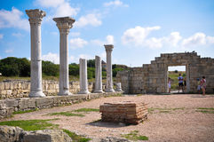 Columns of ancient Greek temple. In ancient city of Chersonesos Taurica (Khersones royalty free stock image