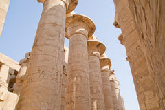 Columns in ancient Luxor, Egypt. Carved stone columns in Luxor, ancient Egypt Royalty Free Stock Photos